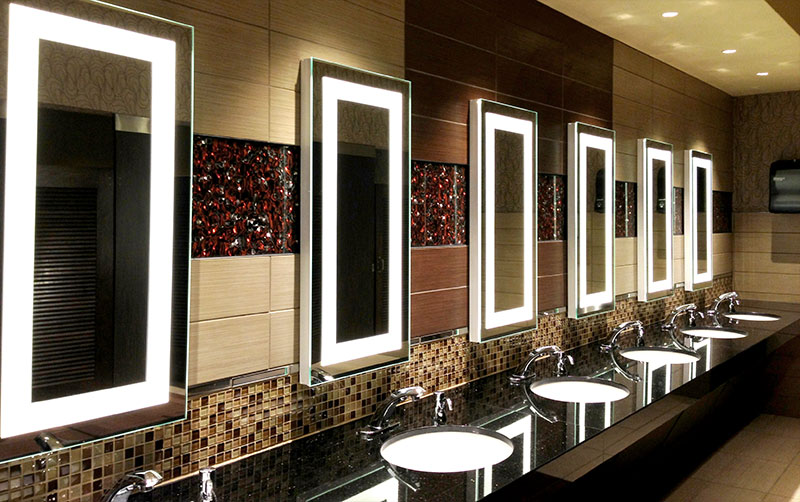 Commercial bathroom lighting and framed mirrors on pinterest for Bathroom design restaurant