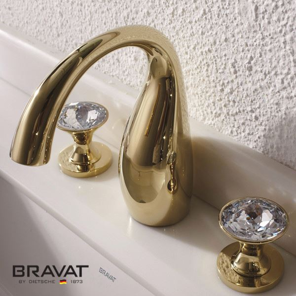 Buy Bravat Gold Crystal Sink Faucet Online. Bathselect Accessories