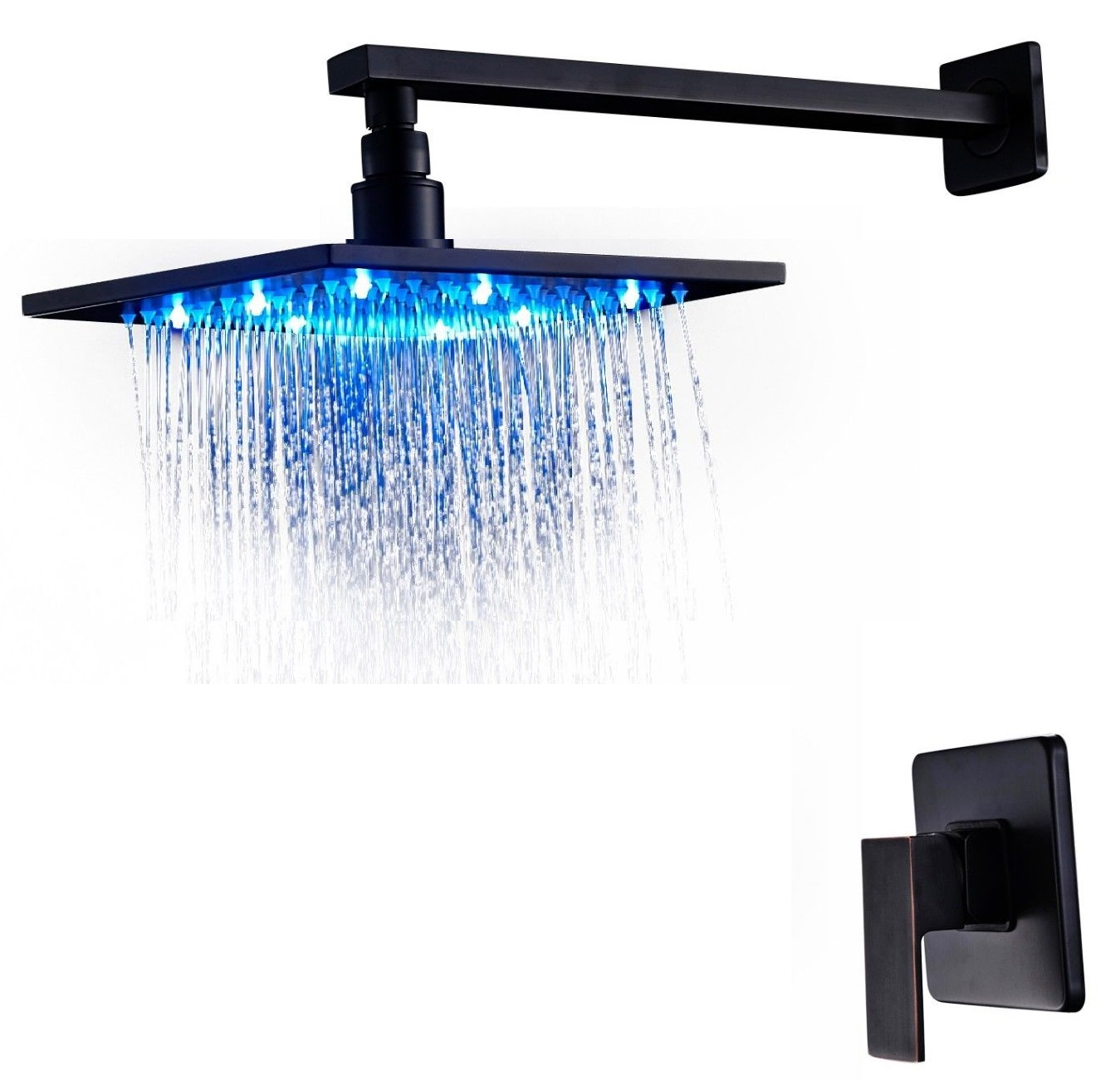 fontana oil rubbed bronze 16 inch bathroom rain shower faucet set with led color. Black Bedroom Furniture Sets. Home Design Ideas