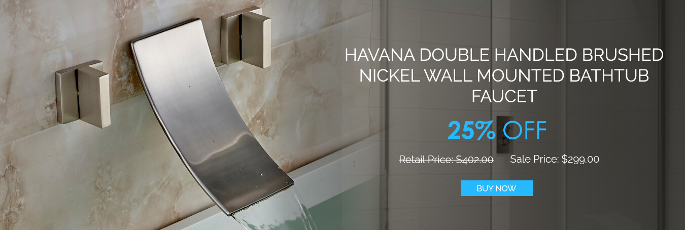 Shop Havana Double Handled Brushed Nickel Wall Mounted Bathtub ...