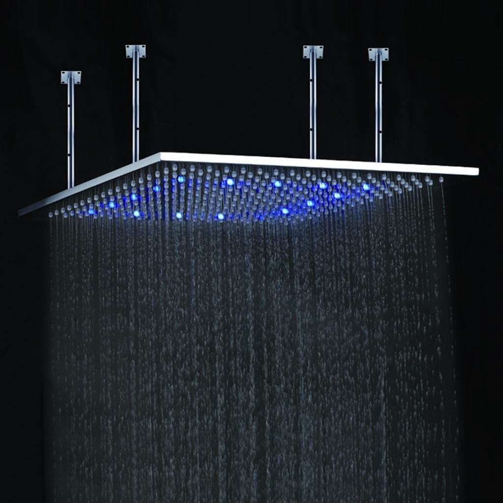 Buy juno 24 multi color water powered led ceiling mount shower head available in chrome - Rain shower head ...