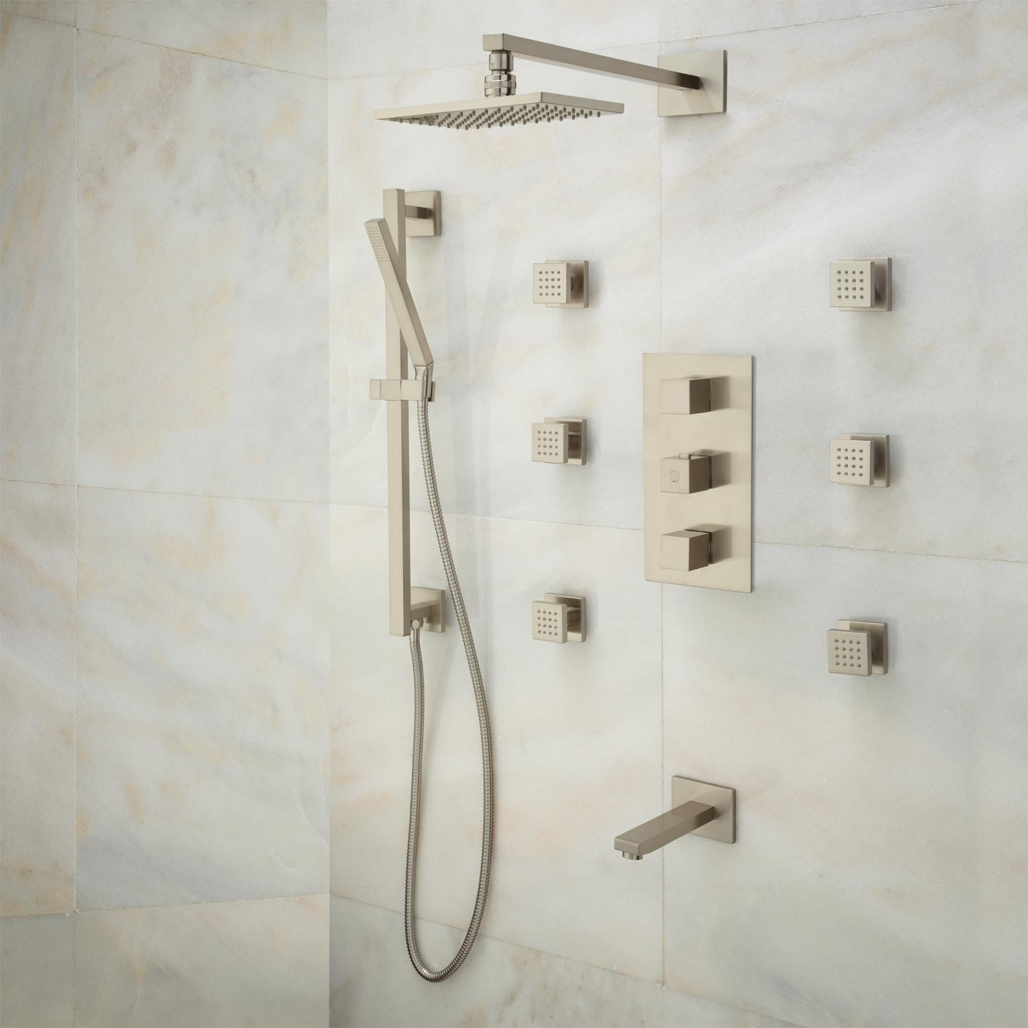 the reno brushed nickel rain shower head with mixer and 360 adjustable body jets and tub filler