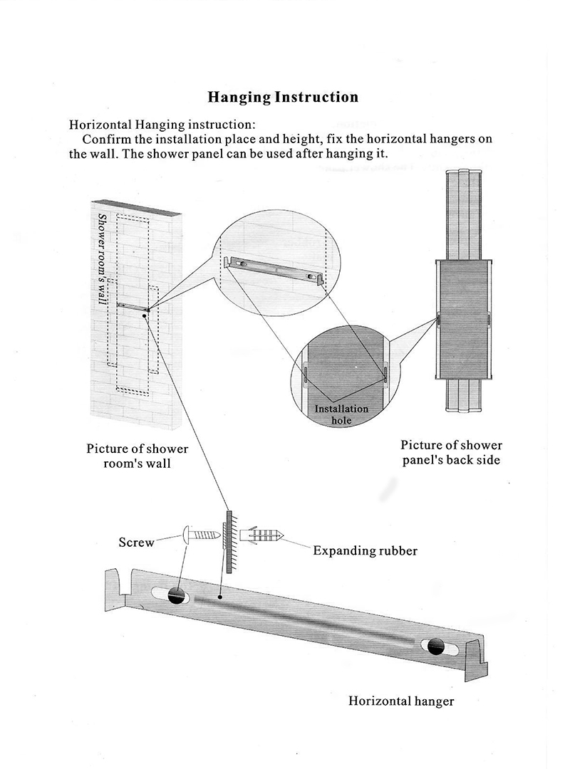 Fontana Ermanno Shower Panel H708A All In One Installation Manuals