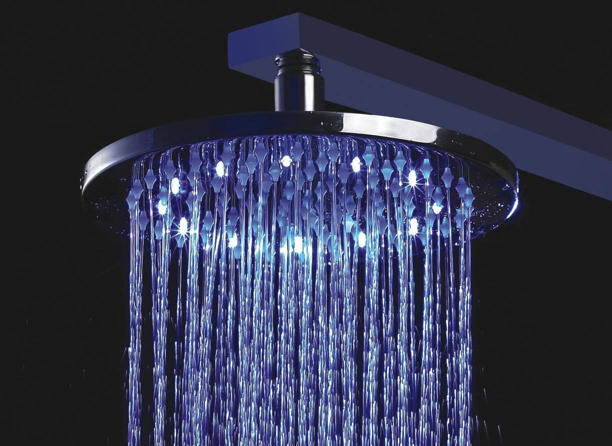 Purchase 16 stainless steel round color changing led rain shower head available in chrome - Rain shower head ...