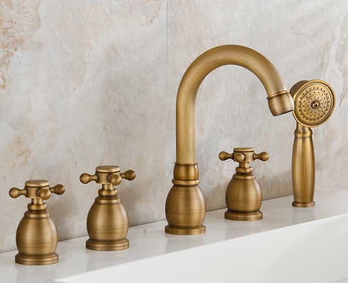 Reno 5pcs Bathtub Faucet in Antique Brass Deck Mount Bath Mixer Tap with Hand Shower
