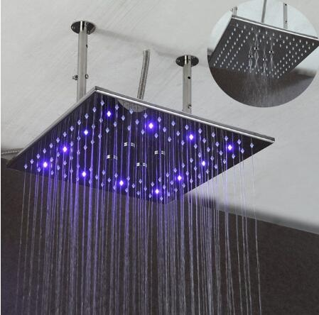 16 Inch LED Brushed Nickel Shower Head