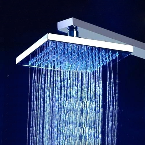 """8"""" Brushed Stainless Steel Square Color Changing LED Rain Shower Head"""