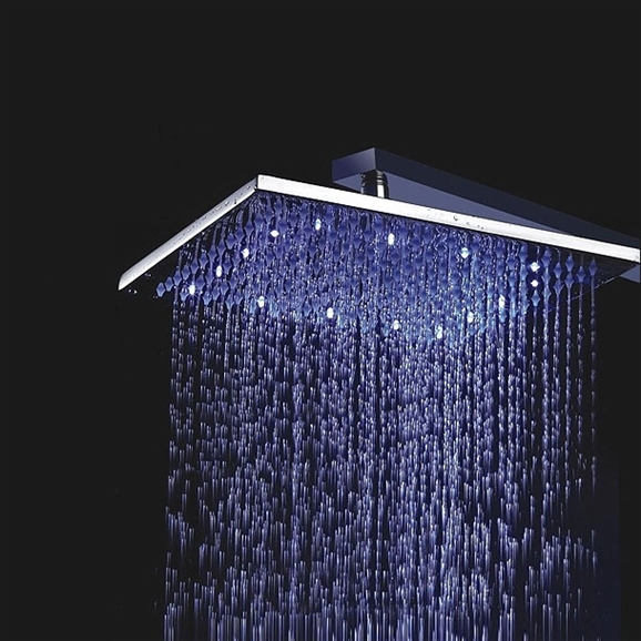 """8"""" Solid Brass Square Color Changing LED Rain Shower Head"""