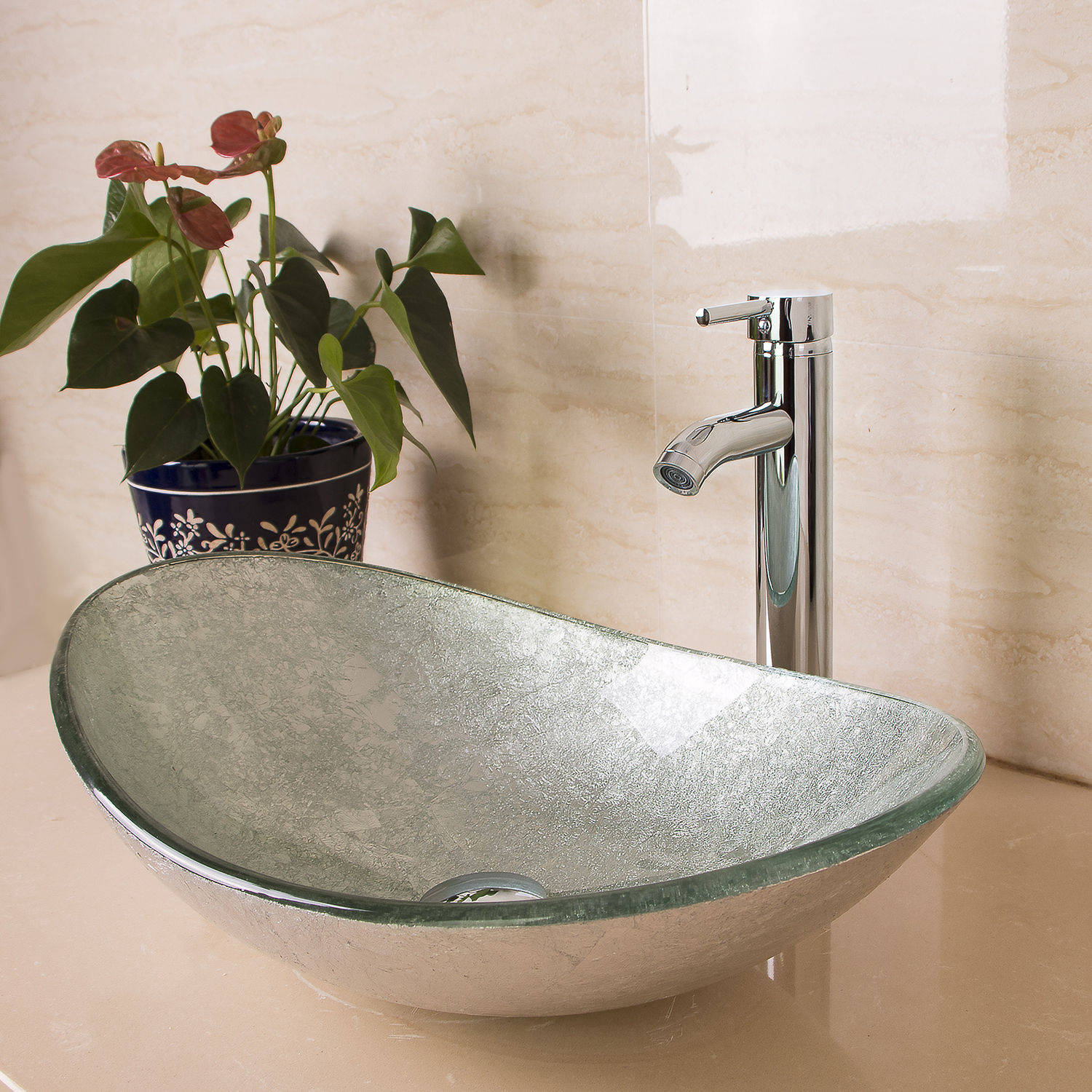 Aegina Oval Bathroom Glass Sink with Faucet & Drain