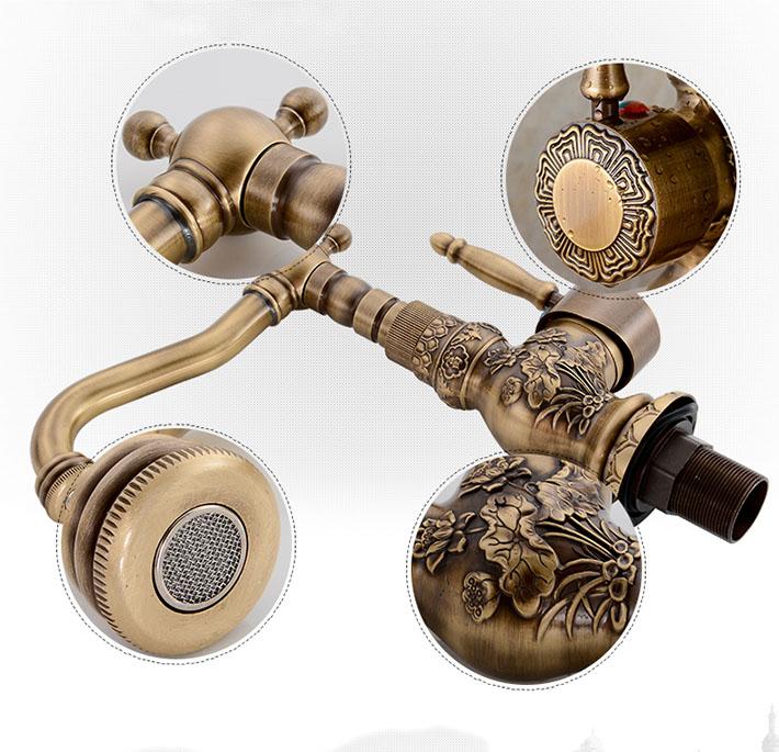 Attica Antique Bronze Bathroom Sink Faucet with Hot & Cold Mixer