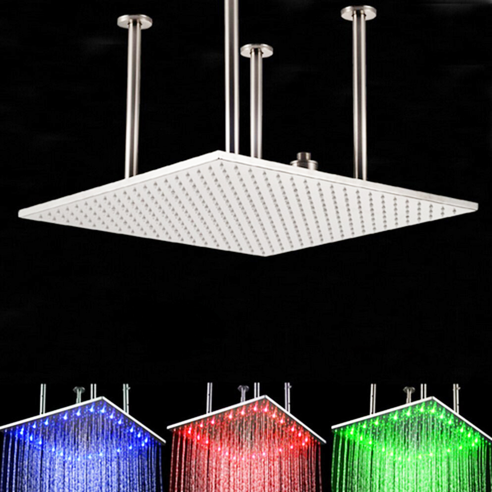 "BathSelect 24"" Multi Color Water Powered Led Ceiling Mount Shower Head Available in Chrome, Brushed Nicke and Gold finish"