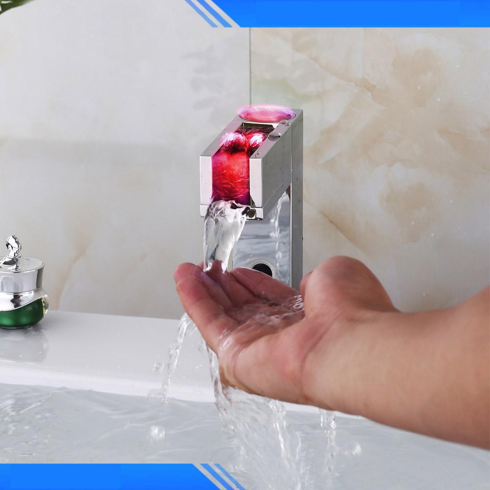 BathSelect Brass Chrome Hand Free Commercial Automatic Sensor LED Basin Faucet
