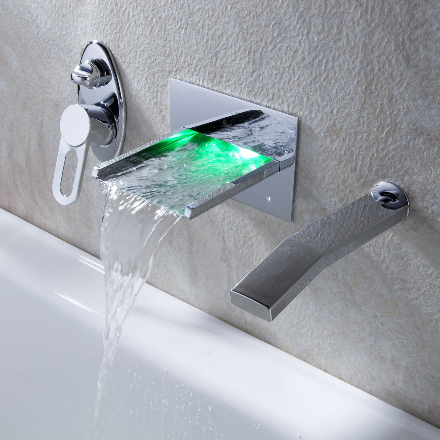Mullino LED RGB Single Handle Widespread Waterfall Pull-Out Bathroom Faucet