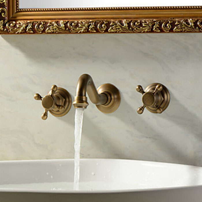 Venice Classico Antique Brass Wall Mount Faucet