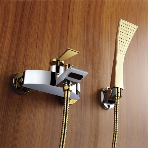 Lima Gold Waterfall Contemporary Bathtub Shower Faucet