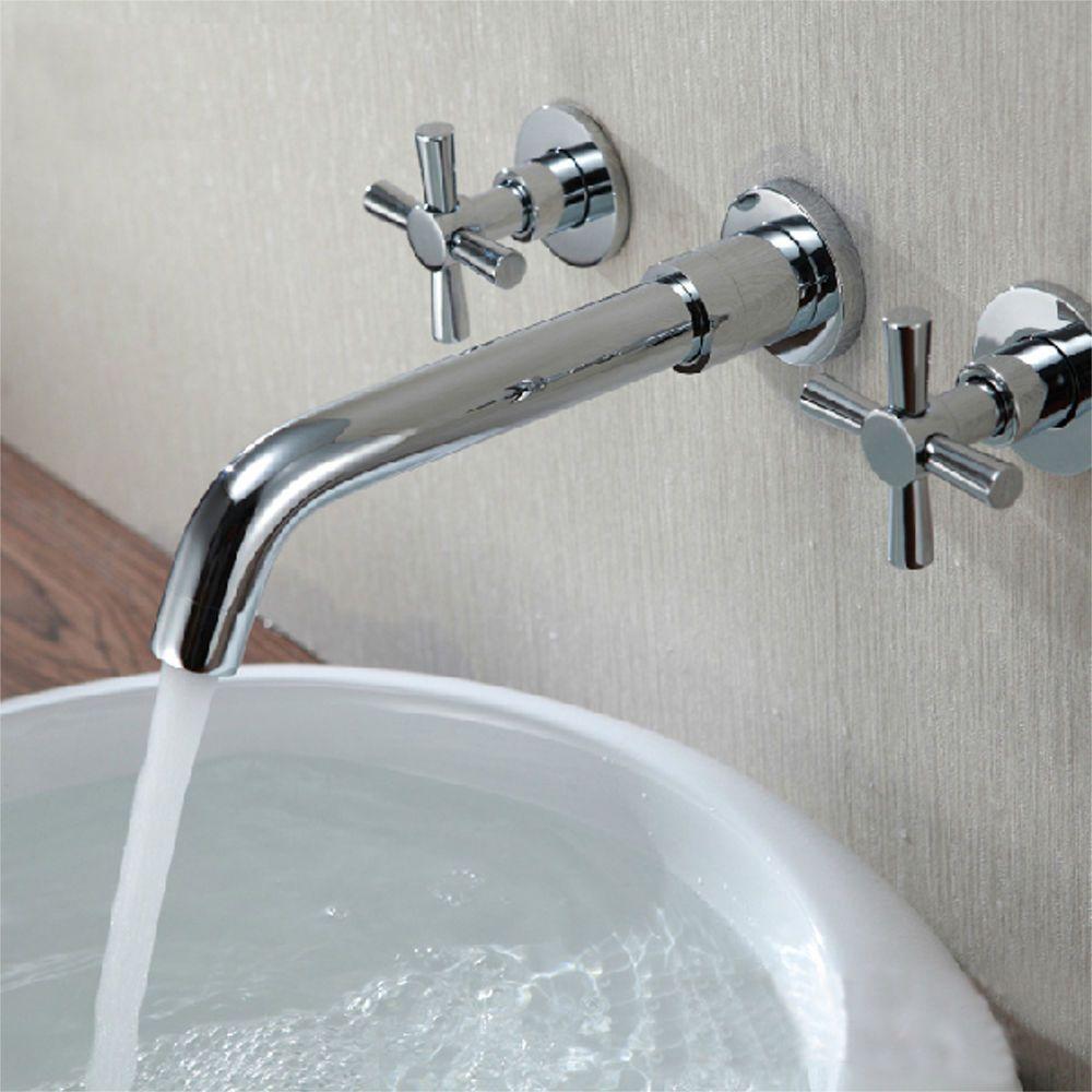 BathSelect Taranto Wall Mount 3 Piece Chrome Faucet Set
