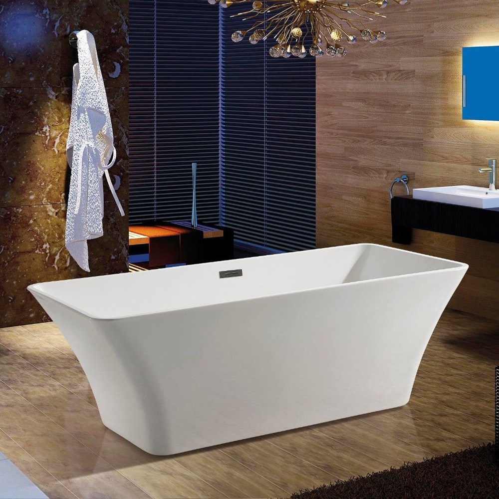 JunoShowers 67 Free Standing Acrylic Bathtub & Floor Tub Filler