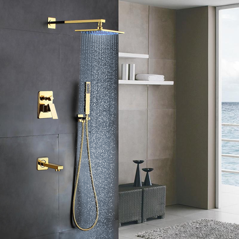 Florence Gold Wall Mount LED Rainfall Shower Set