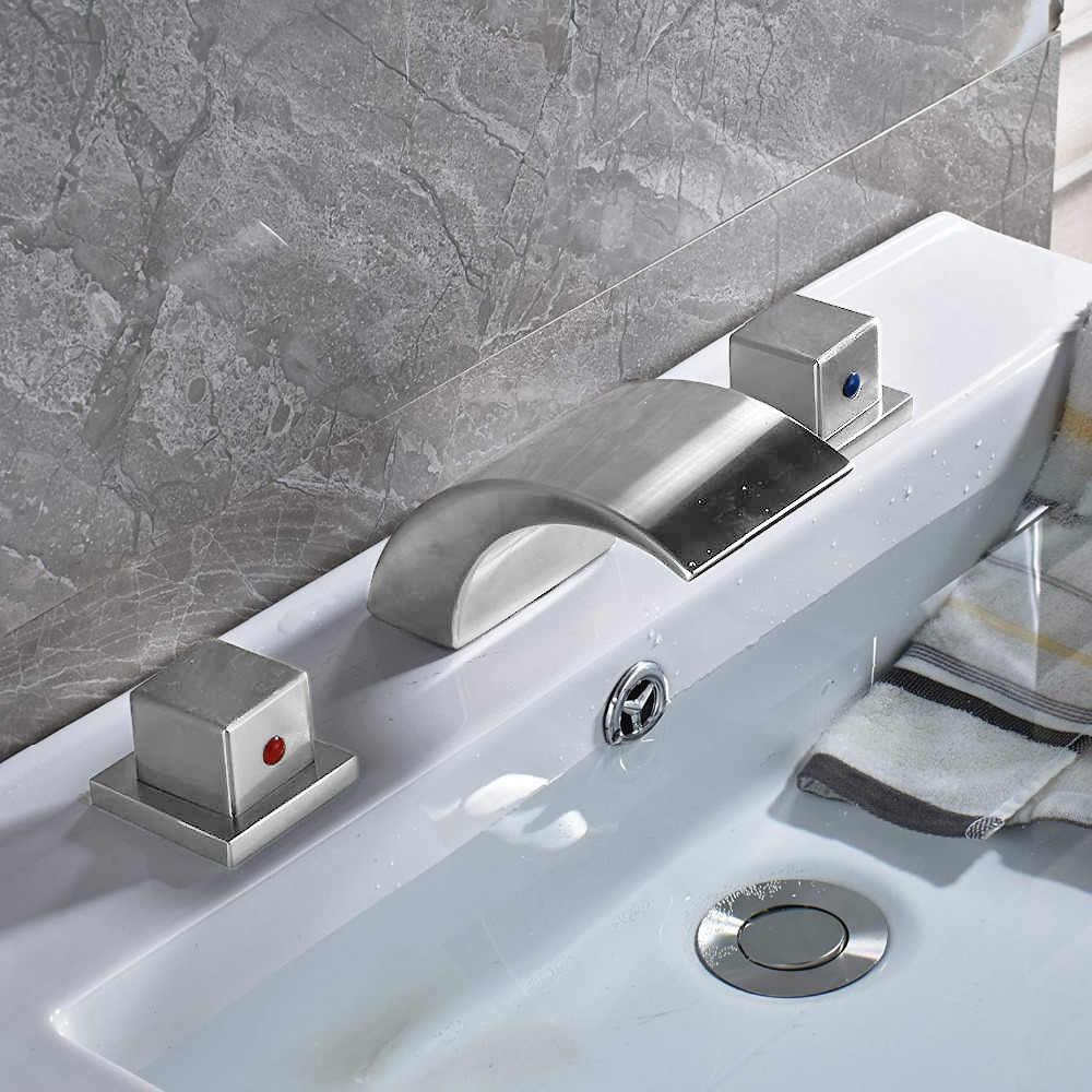 Chrome Finish Deck Mount Dual Handle LED Bathtub faucet