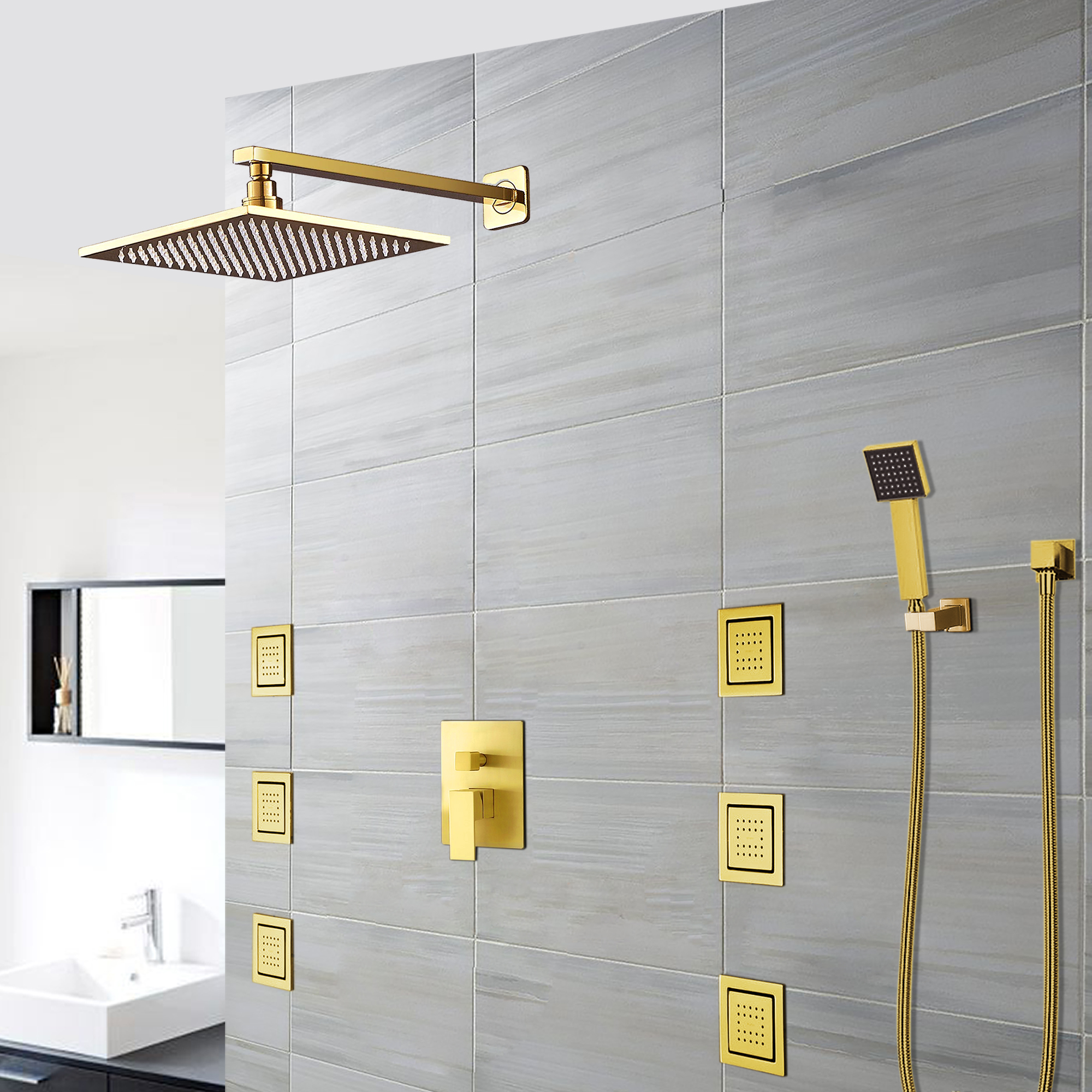 BathSelect Ancona Wall Mount Gold Finish Shower Head with Body Massage Jets