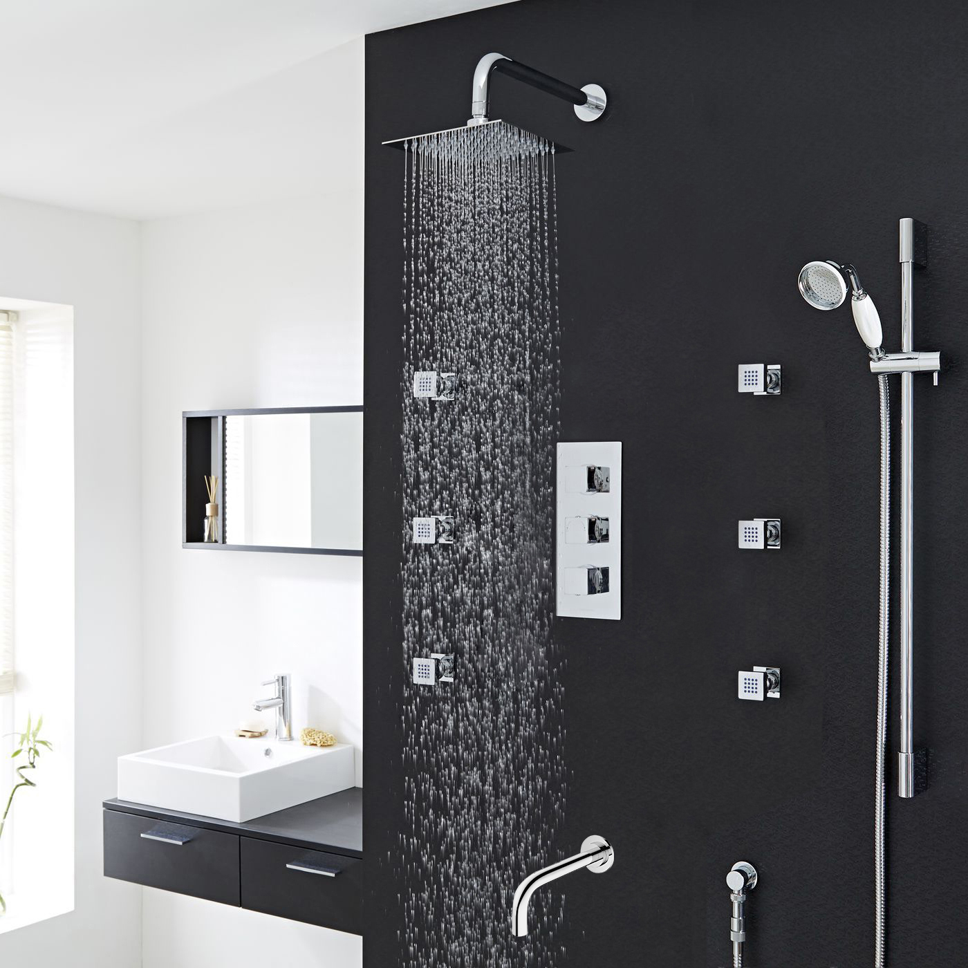 Buy Catania Square Bathroom Shower Set With Rainfall Shower Head Hand Shower Best Sale