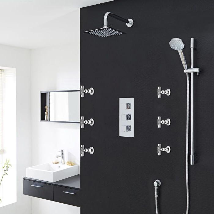 Milan Bathroom Shower Set with Square Rainfall Shower Head & Body Massage Jets