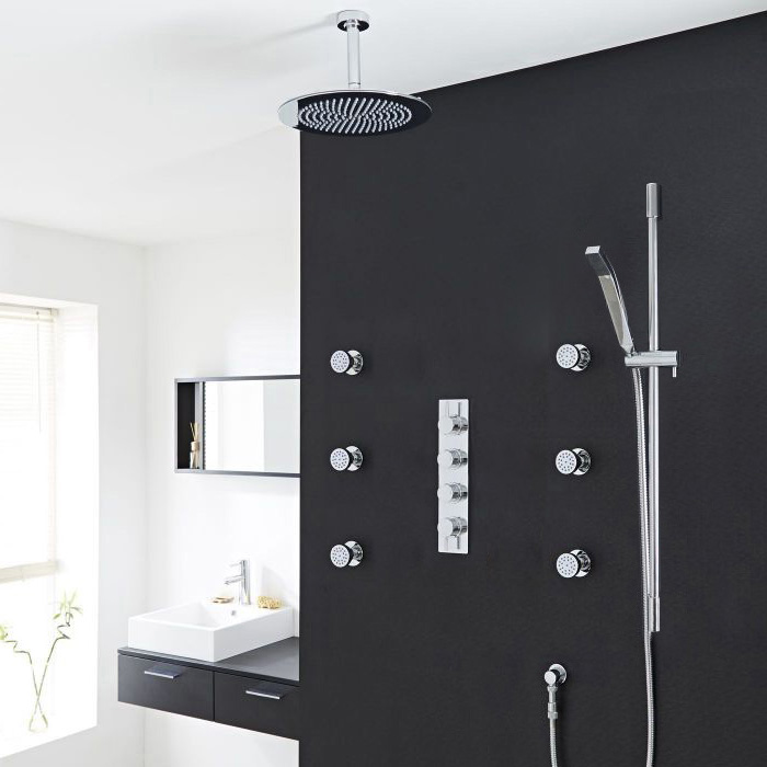 Modena Round Bathroom Shower Set with Rainfall Shower Head & Hand Shower