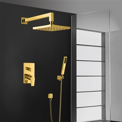 Bravat Elegant Wall Mount Gold Shower Head With Hand-Held Shower & Thermostatic Shower Mixer