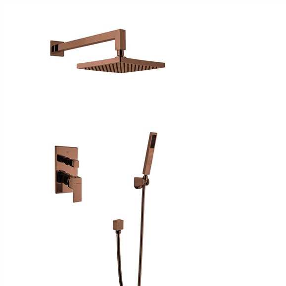 BathSelect Bravat New Wall Mount Bronze Shower Head With Hand-Held Shower & Thermostatic Shower Mixer