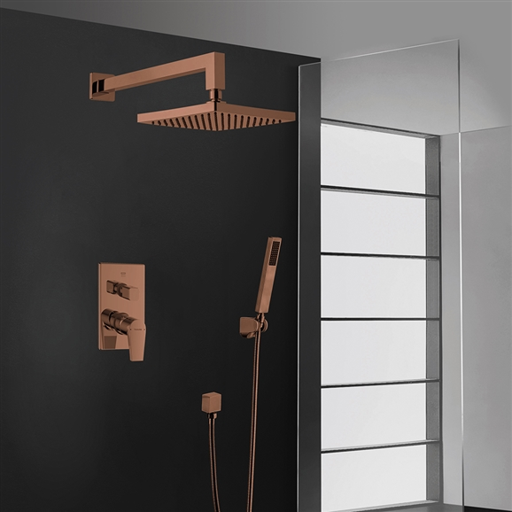 BathSelect Oil Rubbed Bronze Finish Wall Mount Square Shower Head With Hand-Held Shower & Mixer