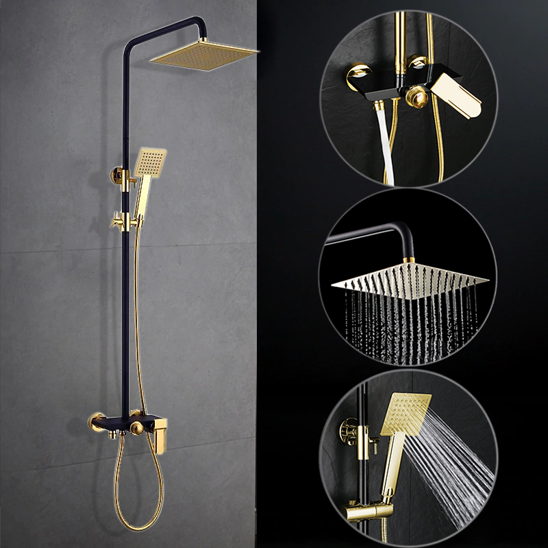 Avignon Solid Brass Luxurious Exposed Oil Rubbed Bronze and Gold Bathroom Shower Set