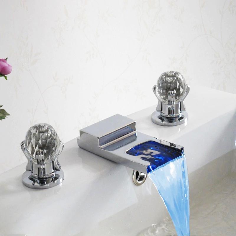 Utah LED Waterfall Bathroom Sink Faucet With Crystal Handles