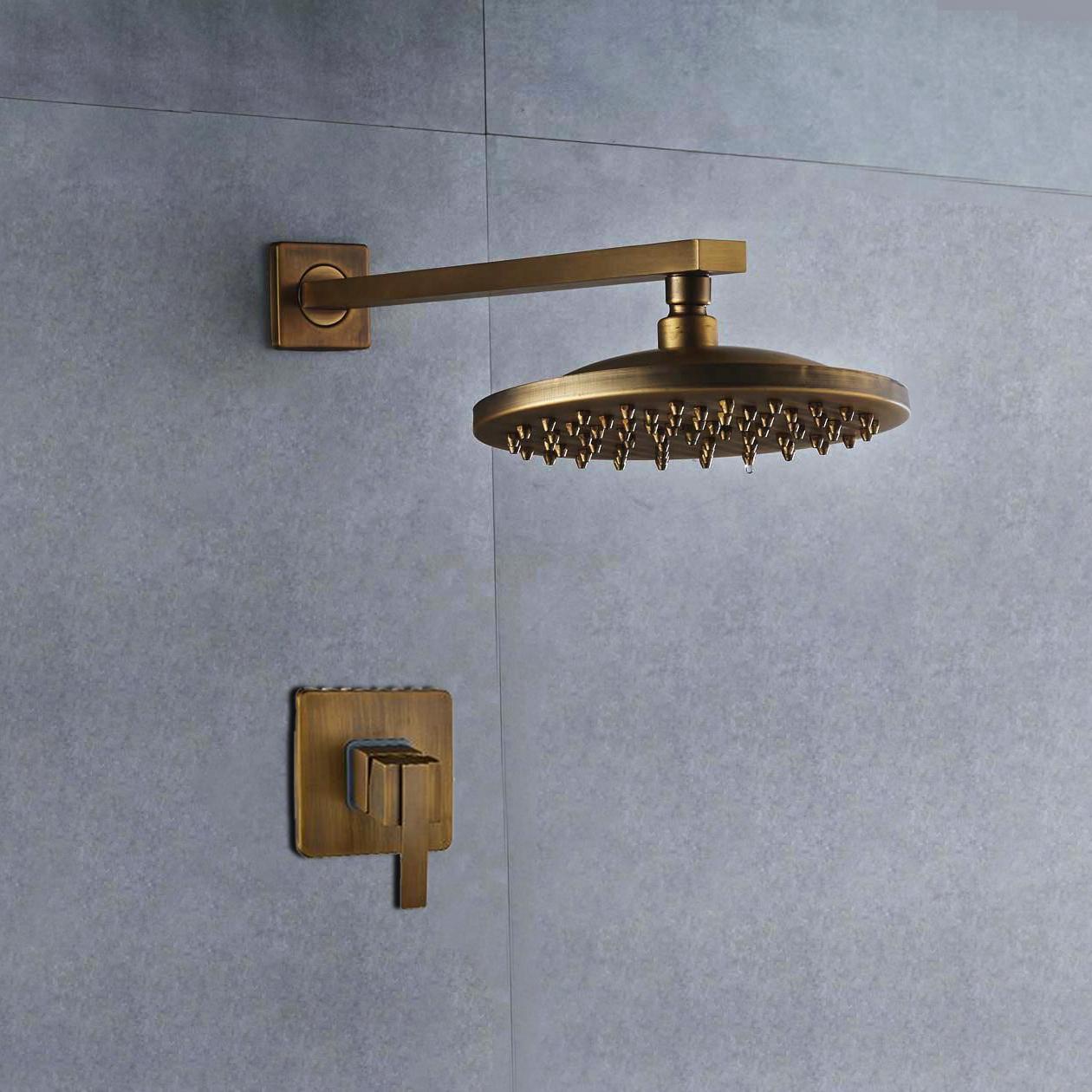 "BathSelect Ancient Round Antique Brass 8"" Rainfall Wall Shower Head"