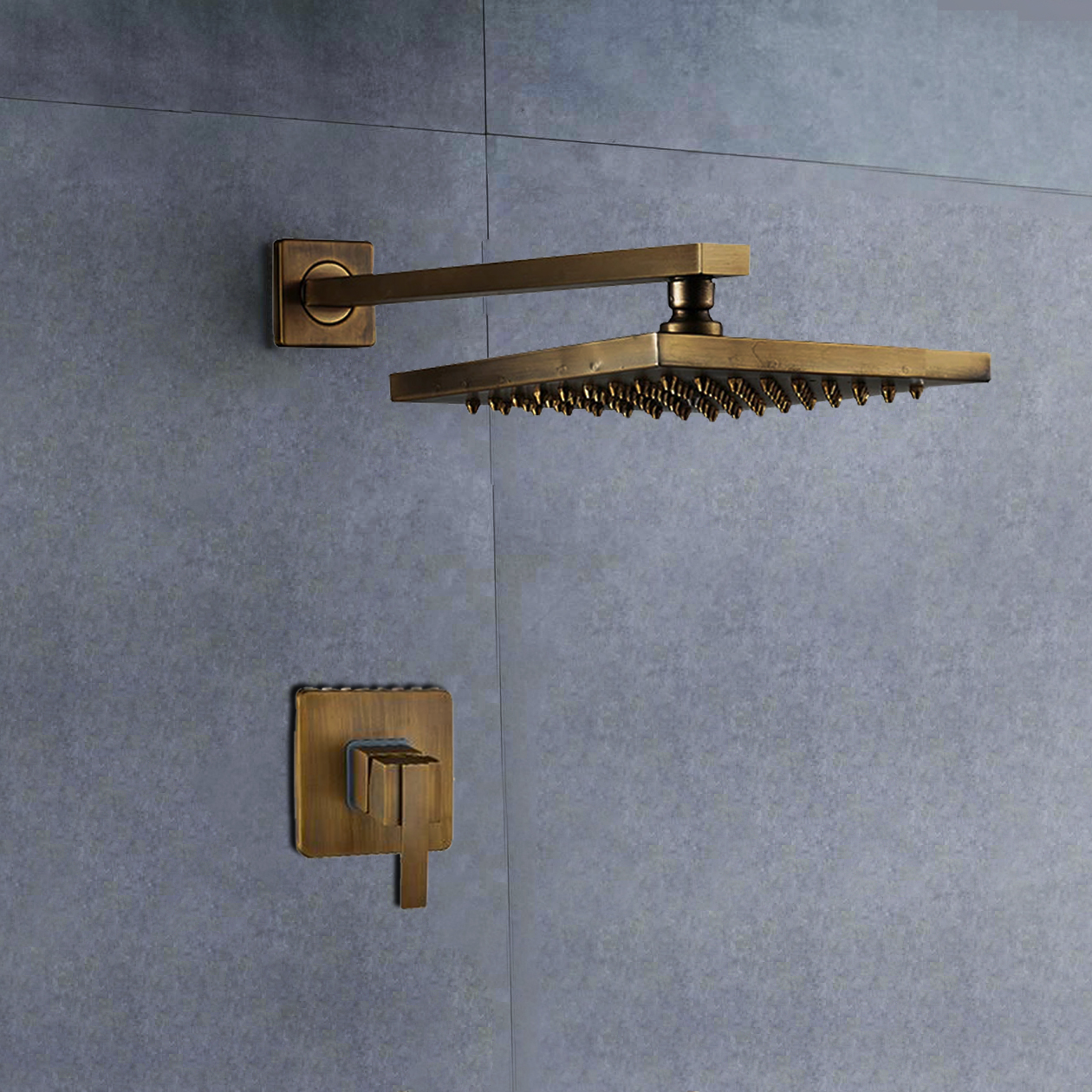 """BathSelect Ancient Square Antique Brass 8"""" Rainfall Wall Shower Head"""