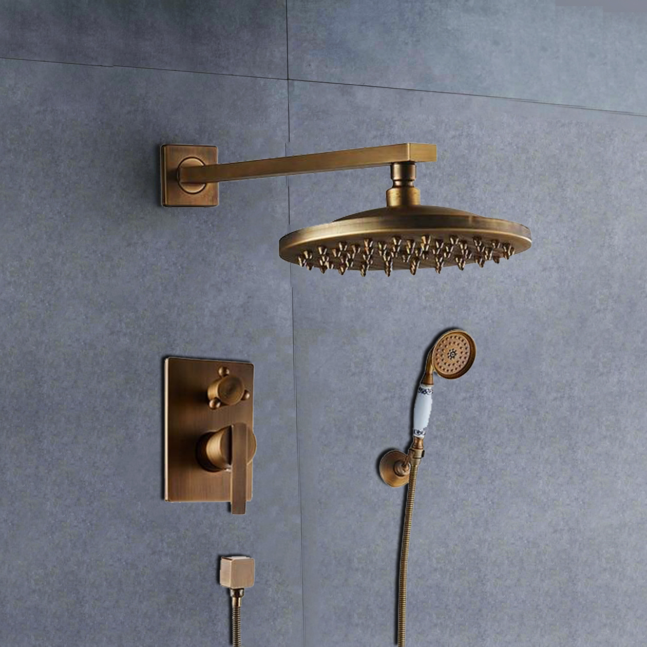 Bathselect Ancient Round Antique Brass 8 Rainfall Wall Shower Head With Hand Held Shower