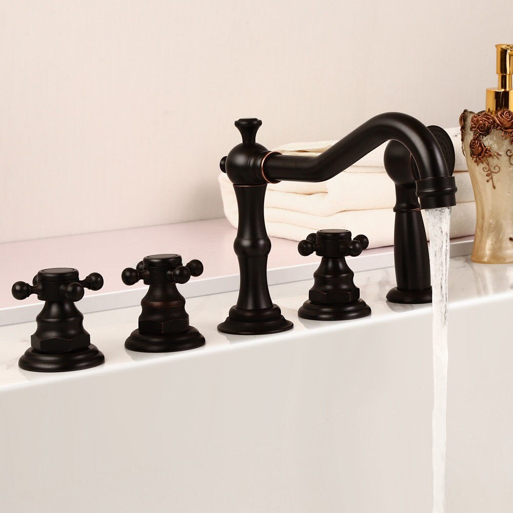 BathSelect Long Spout Deck Mount Oil-Rubbed Bronze Bathtub Faucet with Hand Held Shower