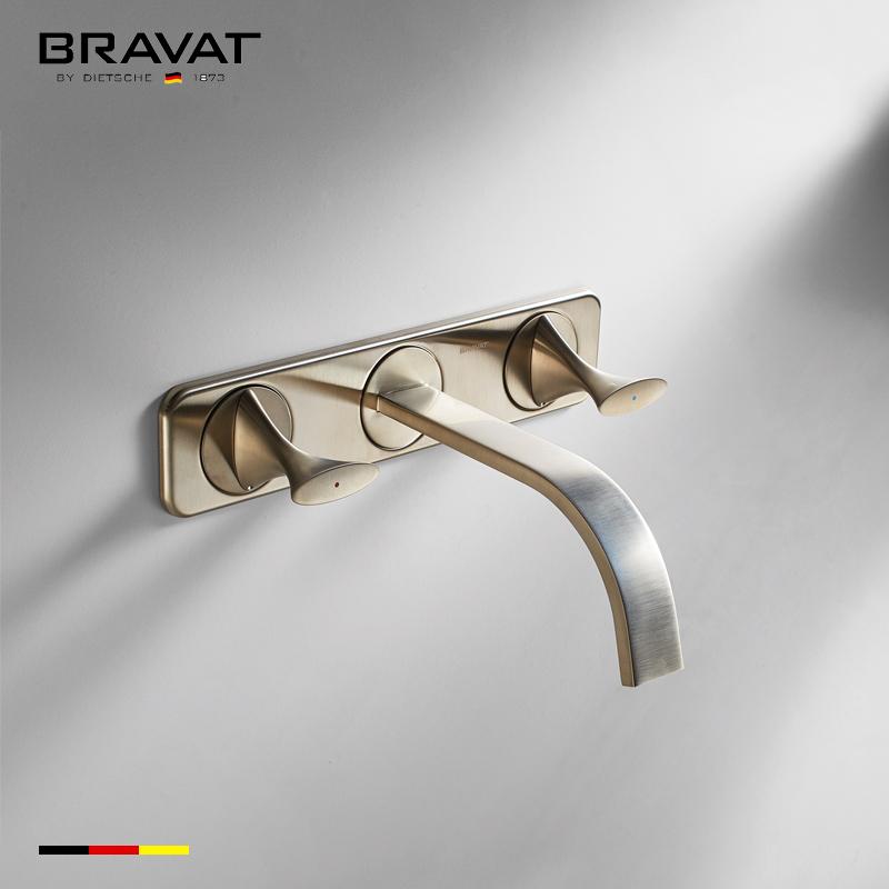 Bravat Brushed Nickel Wall Mount Bathroom Faucet
