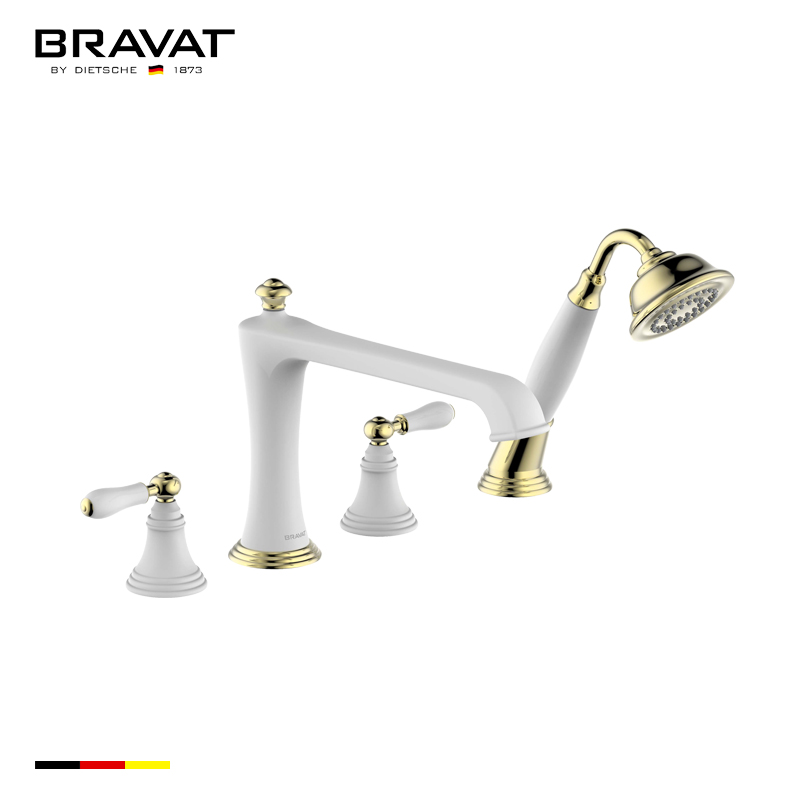 Bravat Gold White Deck Mount Bathroom Faucet With Hand Held Shower