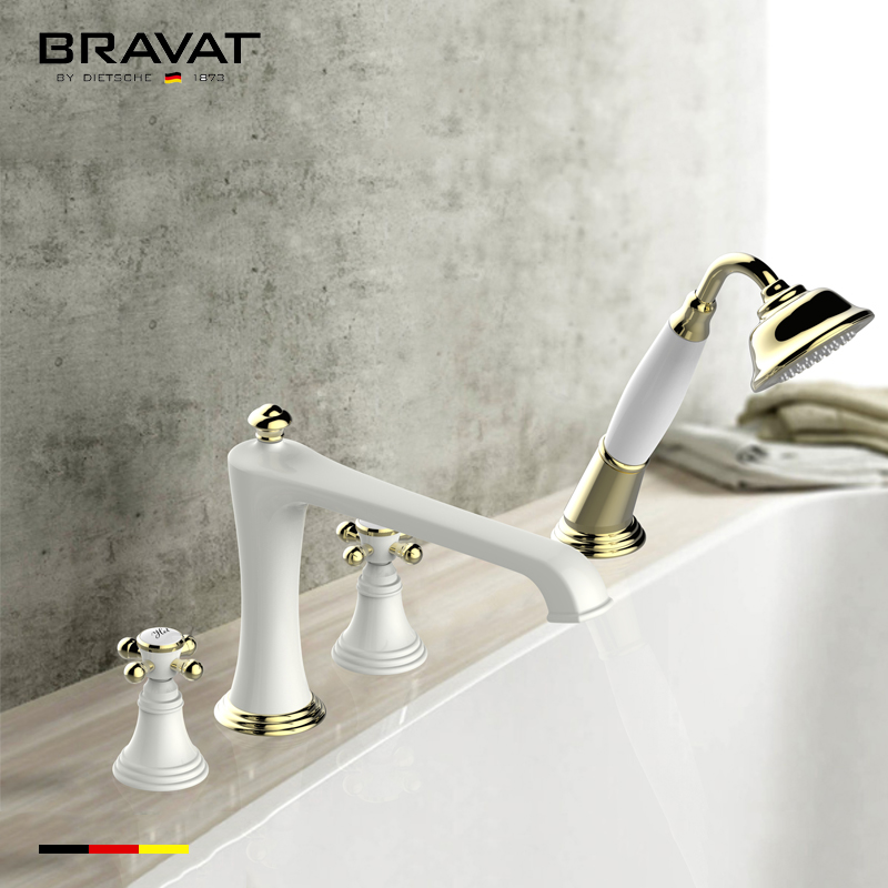 Bravat White And Gold Deck Mount Bathroom Faucet With Hand Held Shower