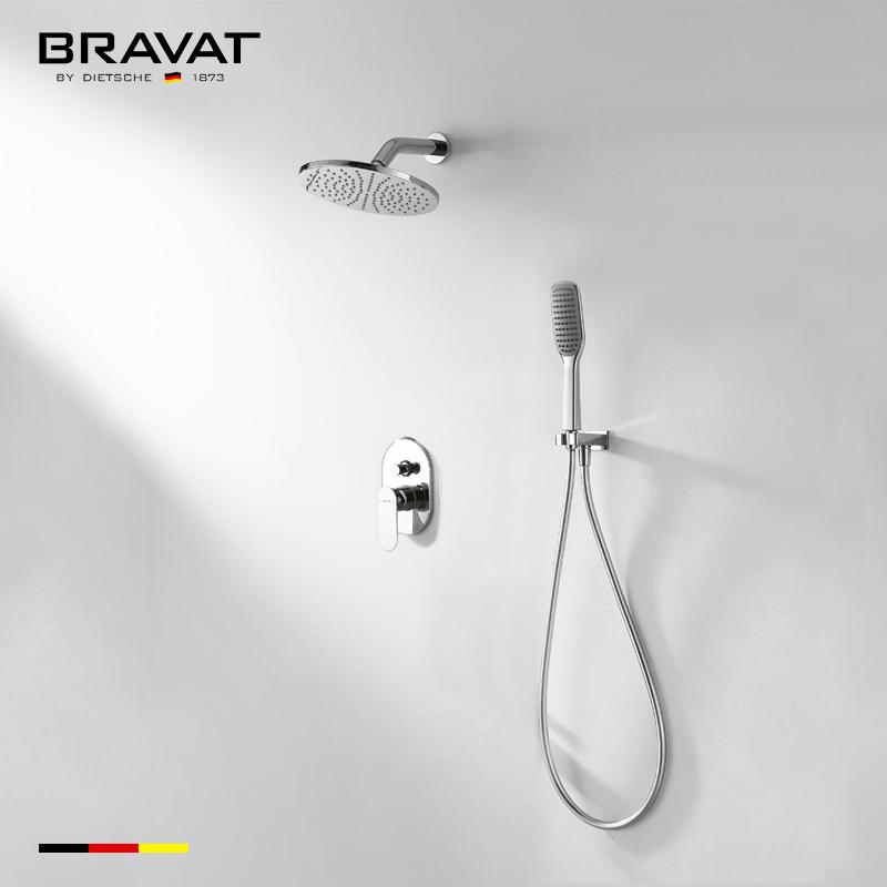 Bravat Chrome Finish Wall Mount Shower System With Handheld Shower