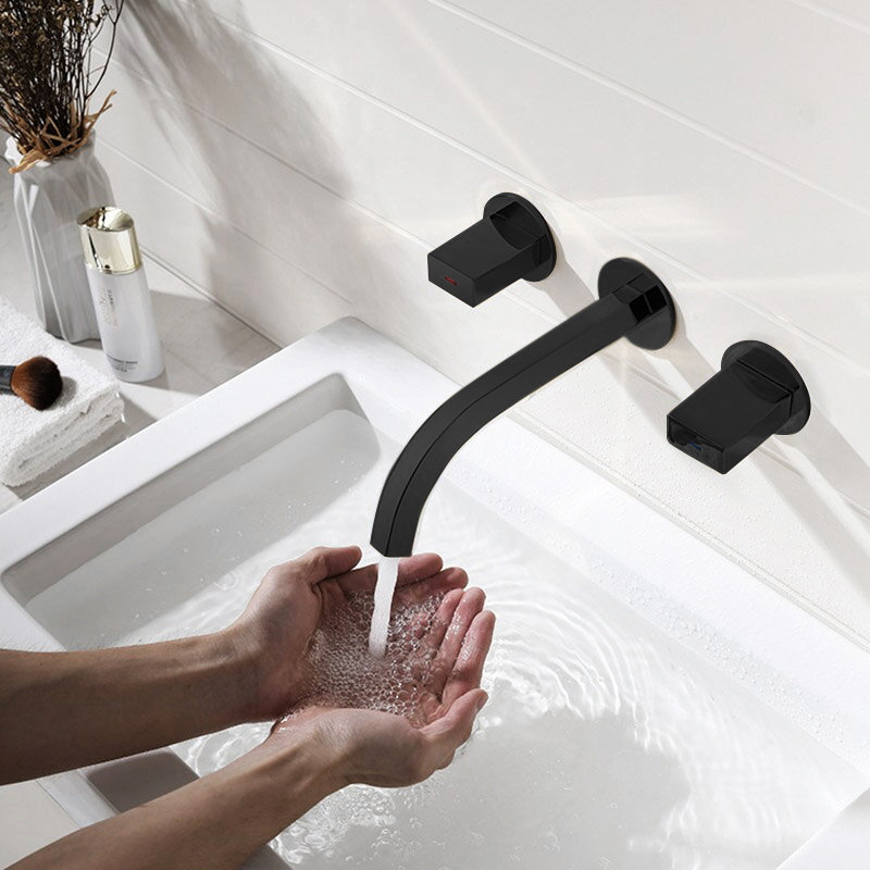 Delaware Contemporary Double Handle Wall Mount Bathroom Sink Faucet in Oil Rubbed Bronze Finish