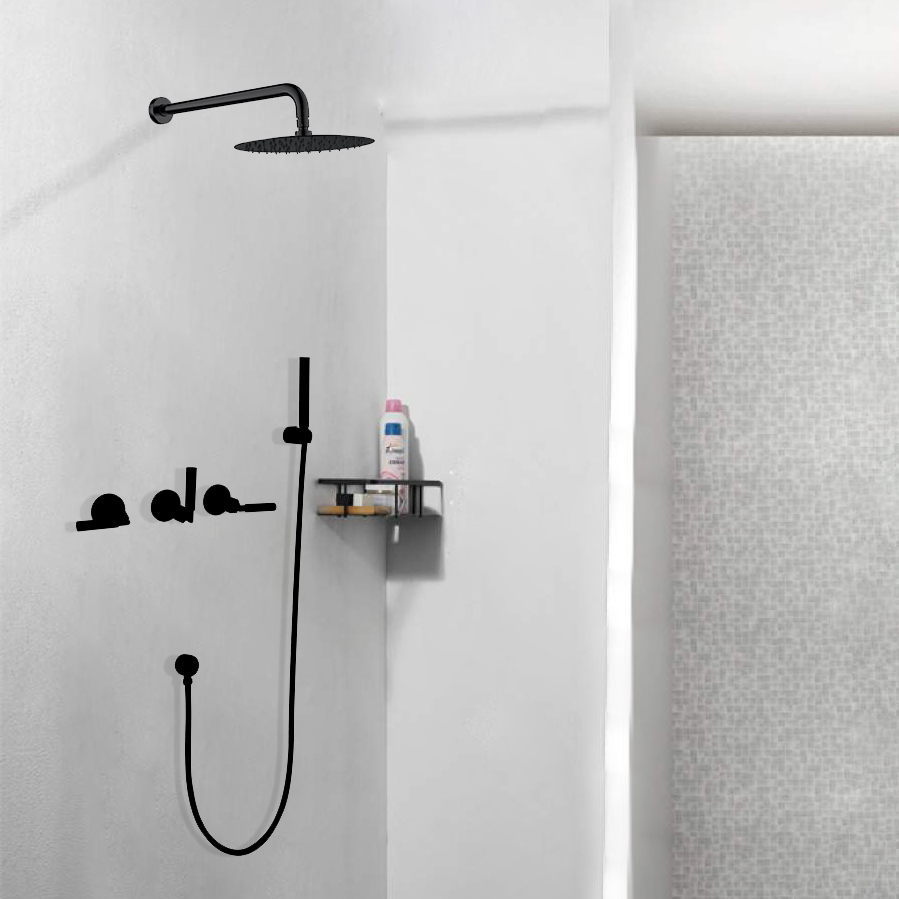 Seattle Contemporary Wall Mount Bathroom Shower Set in Oil Rubbed Bronze Finish