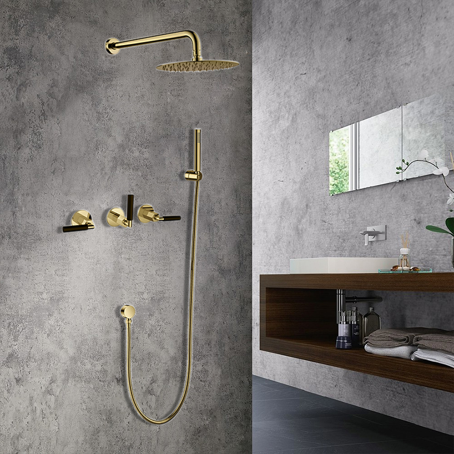 Seattle Contemporary Wall Mount Hot and Cold Bathroom Shower Set in Gold Finish