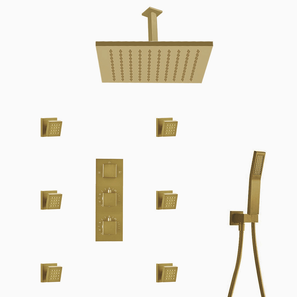 BathSelect Lima Thermostatic Shower Set Rainfall Shower Head And 6 Pieces SPA massage Jets With 3 Way Mixer Faucet In Gold Finish