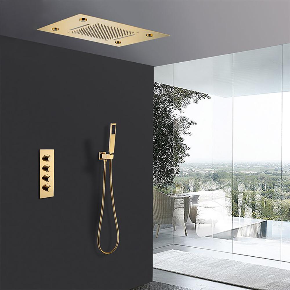 Fontana 20 Inch LED Gold Thermostatic Shower Panel Set