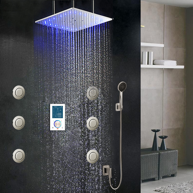 """BathSelect 40"""" Monarc LED Shower Set, Complete with Mixer and Body Jets"""