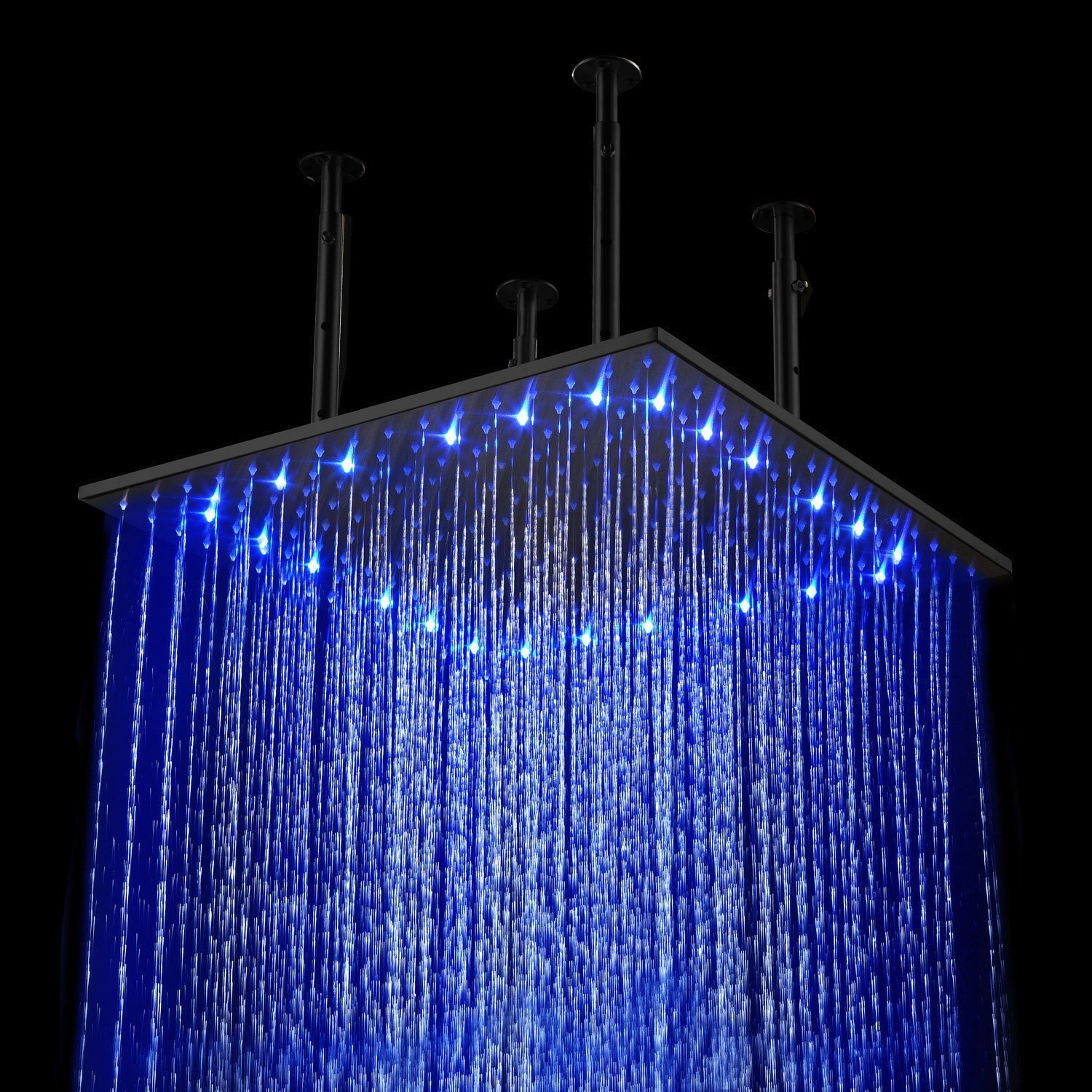 BathSelect Oil Rubbed Bronze Square Color Changing LED Rain Shower Head
