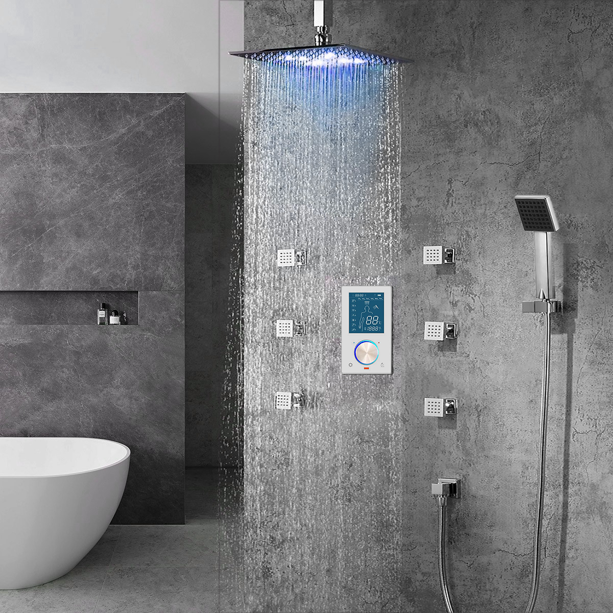 Trialo Solid Brass Color Changing Water Powered Led Shower with Adjustable Body Jets and Mixer