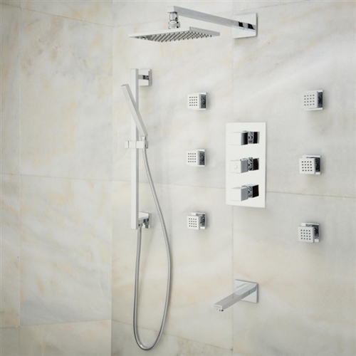 Lünen Chrome/Brushed Nickel Finish Shower Set