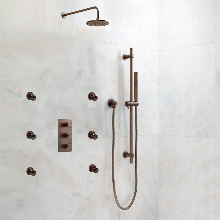 Lunen Oil Rubbed Bronze Round Shower Set